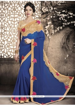 Titillating Viscose Patch Border Work Designer Saree