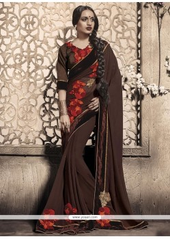 Gleaming Brown Designer Saree