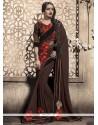 Gleaming Brown Designer Saree