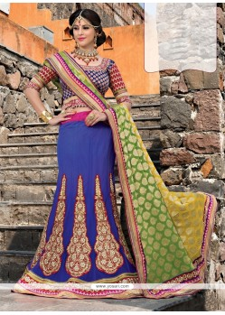 Extraordinary Blue Net Designer Lehenga Choli