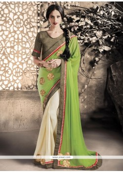 Praiseworthy Fancy Fabric Green Embroidered Work Designer Saree