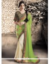 Praiseworthy Fancy Fabric Green Embroidered Work Designer Saree