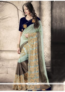 Distinctive Net Embroidered Work Designer Saree