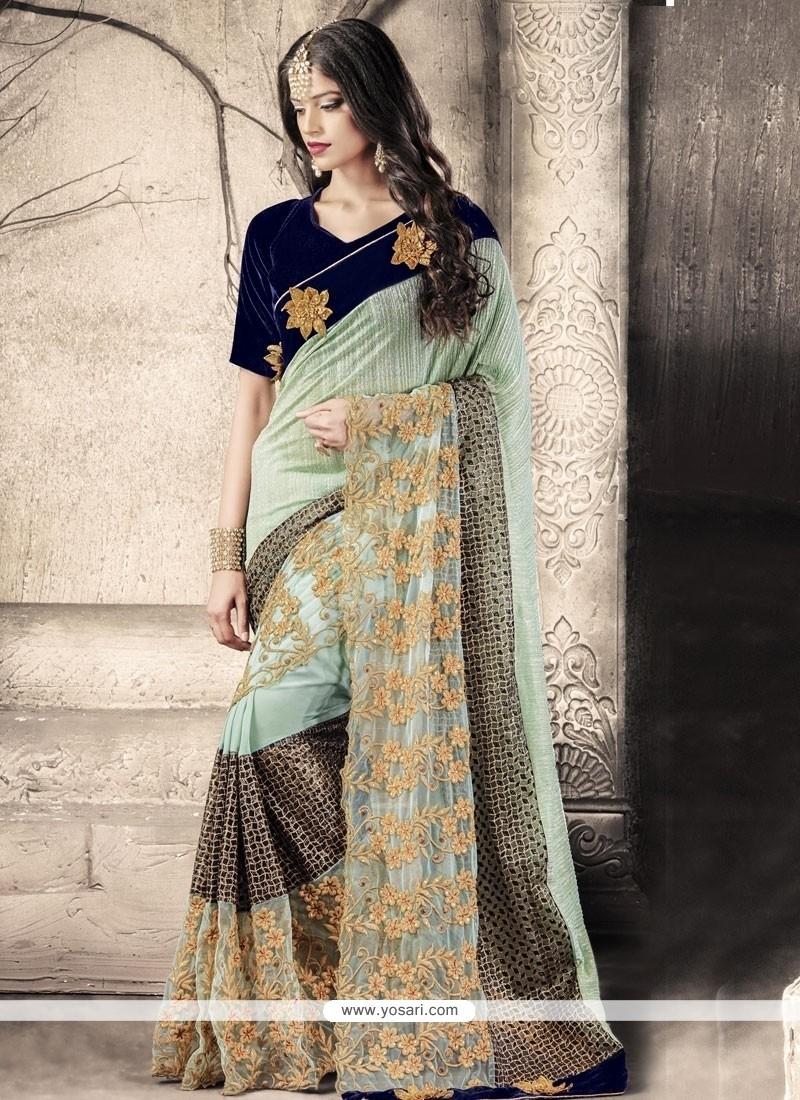Distinctive Net Embroidered Work Designer Saree