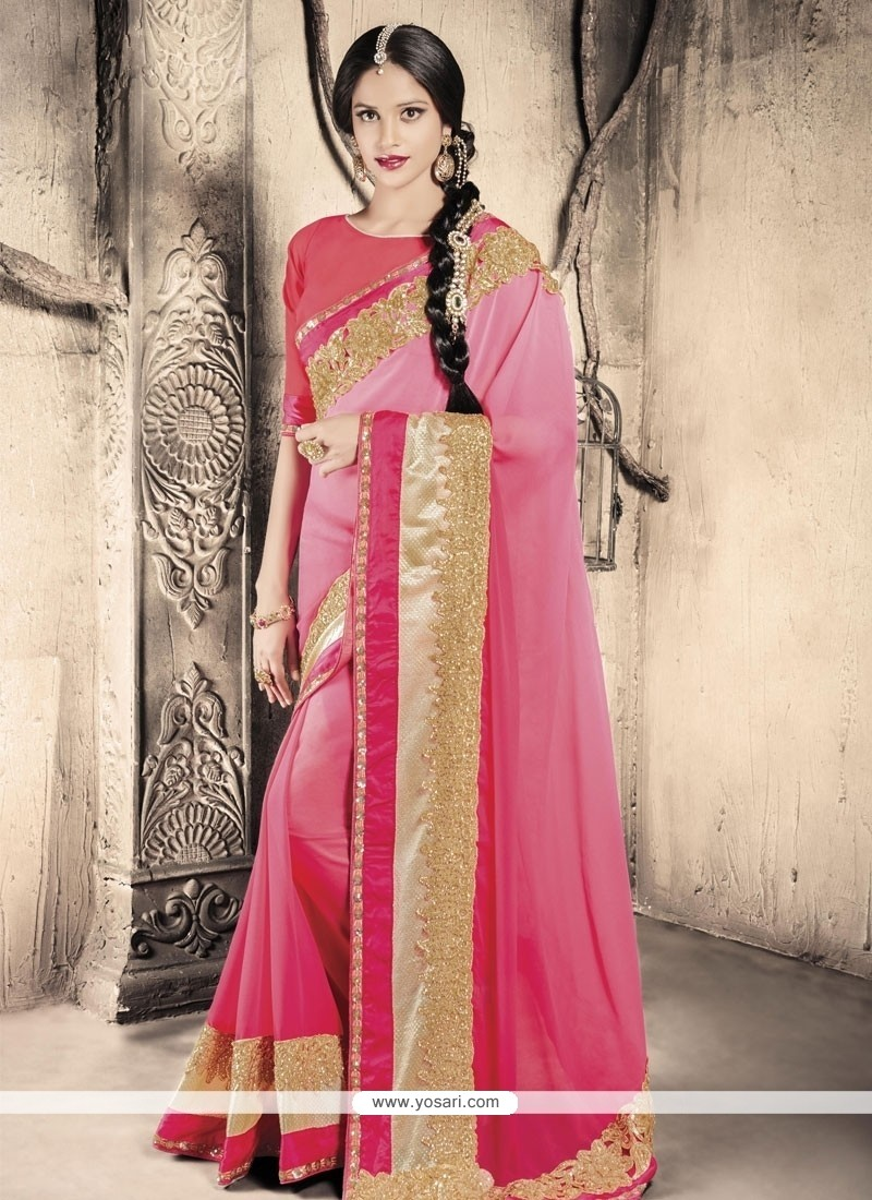 Ravishing Hot Pink Designer Saree