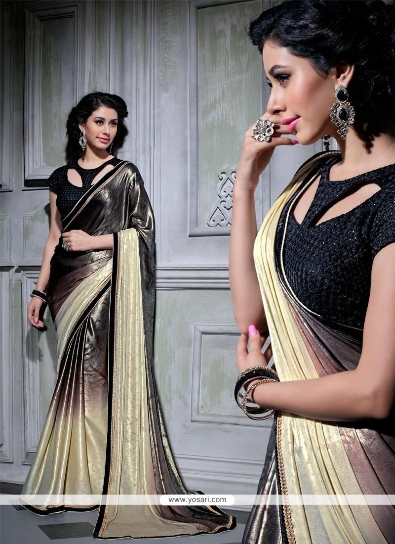 Impressive Black Patch Border Work Designer Saree