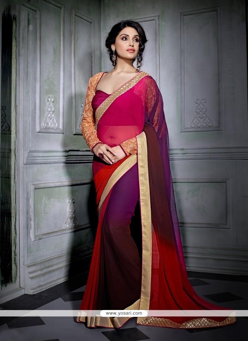 Celestial Multi Colour Embroidered Work Georgette Designer Saree