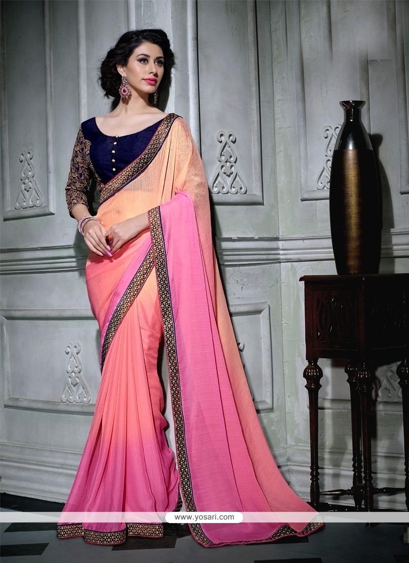 Exuberant Patch Border Work Pink Georgette Designer Saree