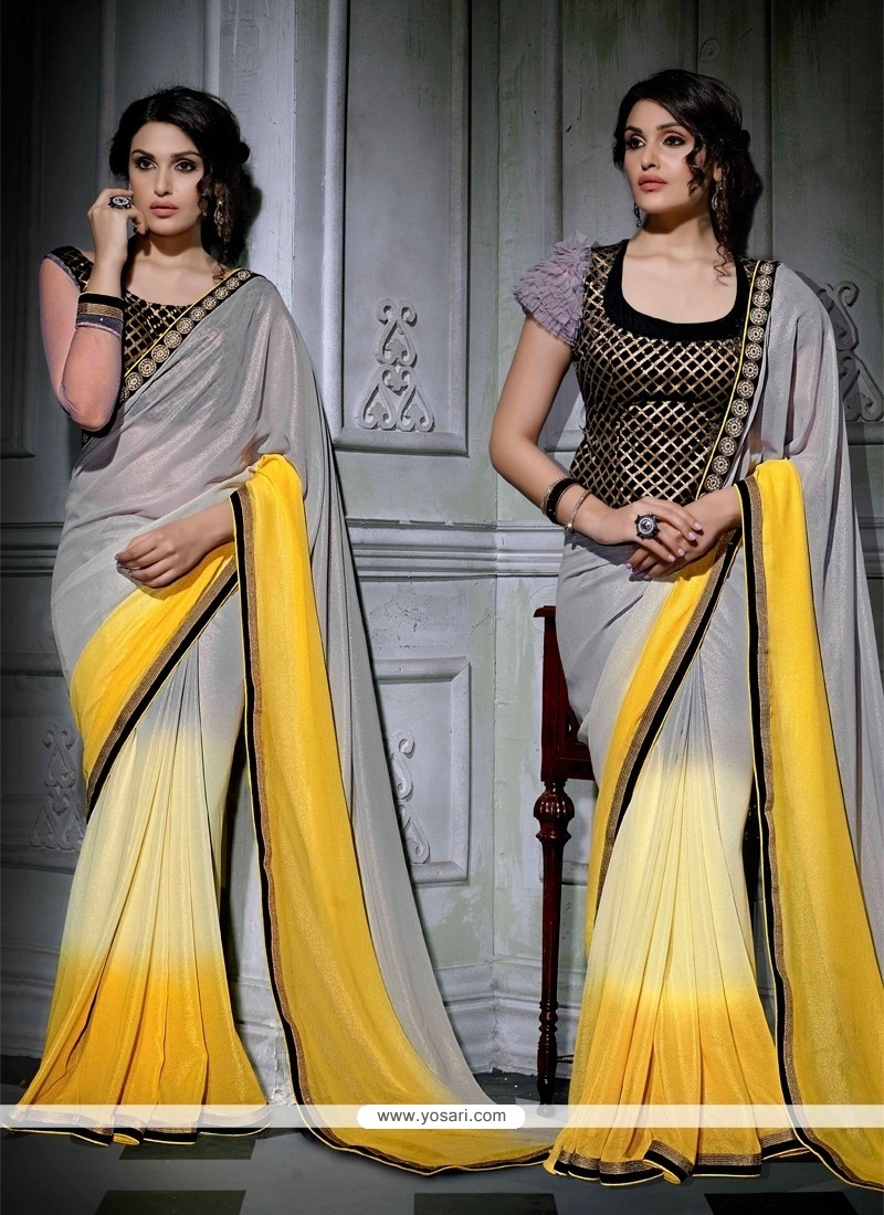 Glossy Faux Chiffon Grey And Yellow Patch Border Work Designer Saree