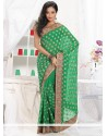 Flawless Green Faux Georgette Saree