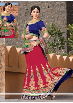 Red Soft Net Wedding Lehenga Choli