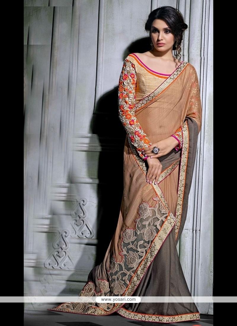 Alluring Patch Border Work Designer Saree