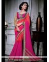 Sightly Patch Border Work Hot Pink Designer Saree