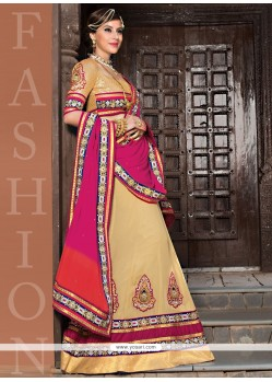 Exceptional Cream Net Designer Lehenga Choli