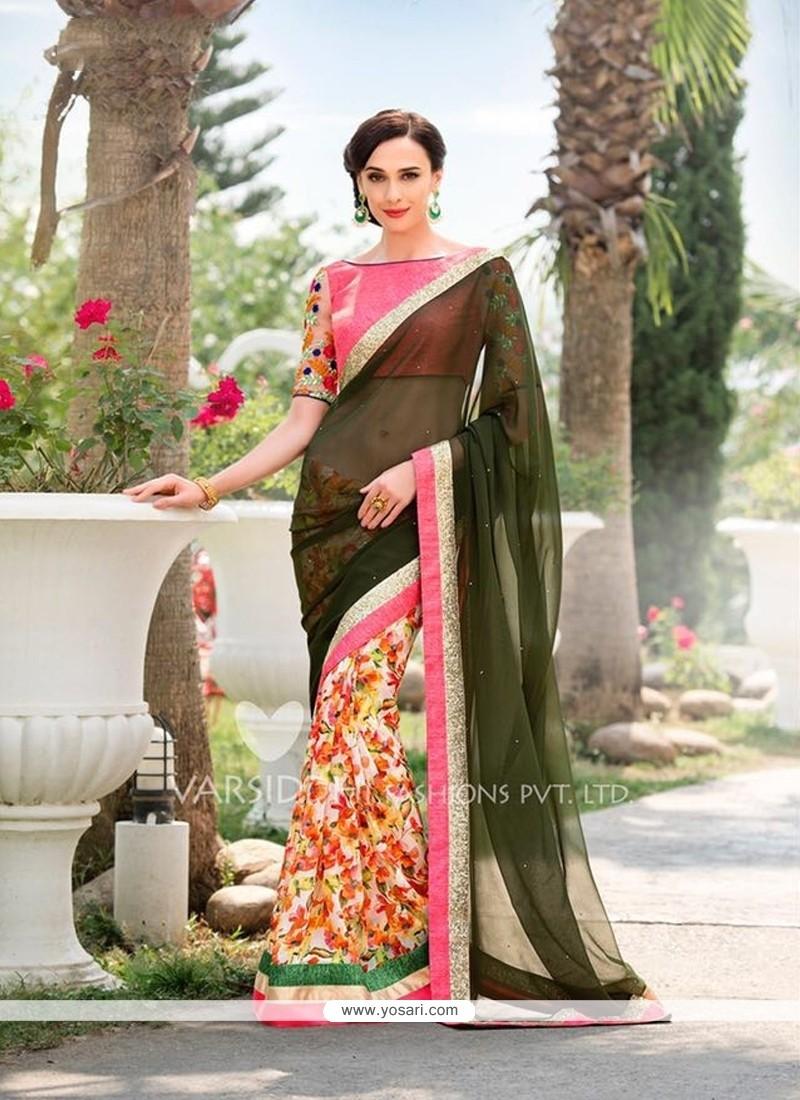 Modest Georgette Multi Colour Designer Saree