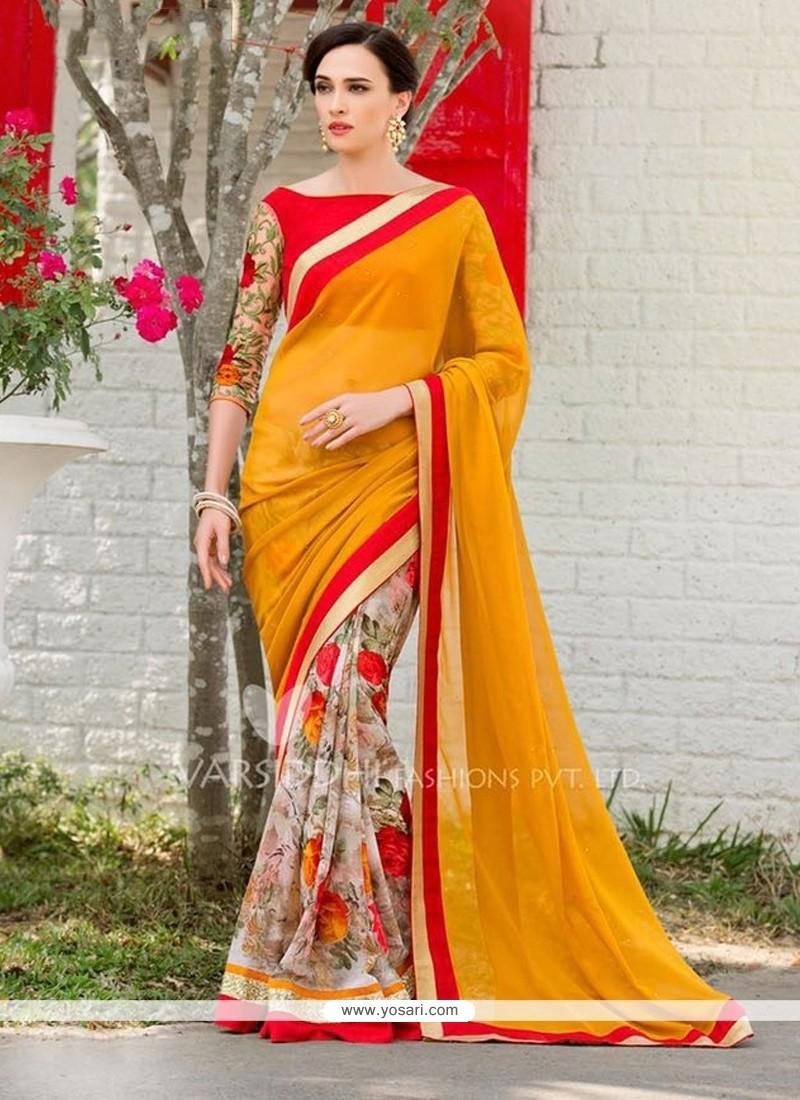 Perfect Multi Colour Sequins Work Georgette Designer Saree