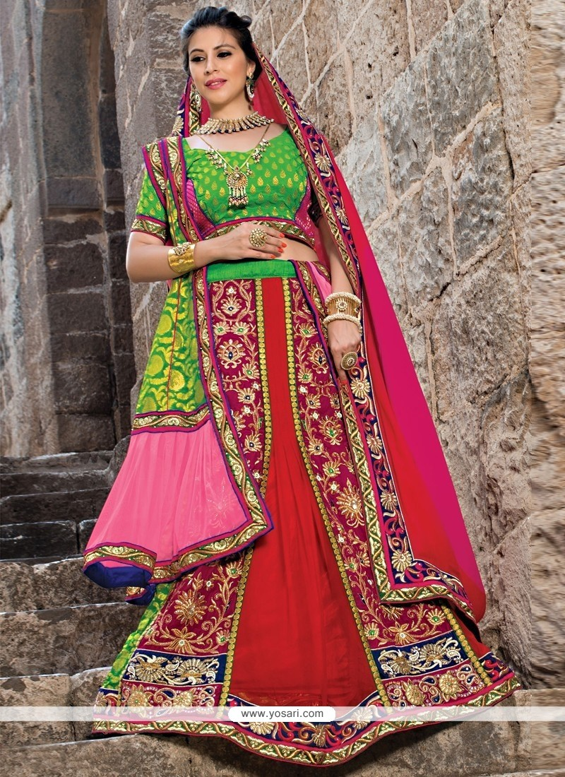 Maroon And Green Velvet Net Lehenga Choli
