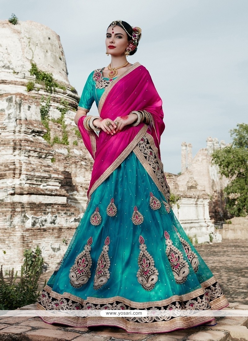 Perfect Net Turquoise Zari Work A Line Lehenga Choli