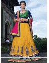 Excellent Yellow Georgette Wedding Lehenga Choli