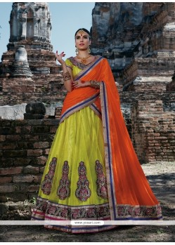 Blissful Embroidered Work Yellow A Line Lehenga Choli