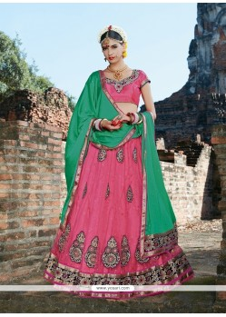 Surpassing Net Hot Pink Embroidered Work A Line Lehenga Choli