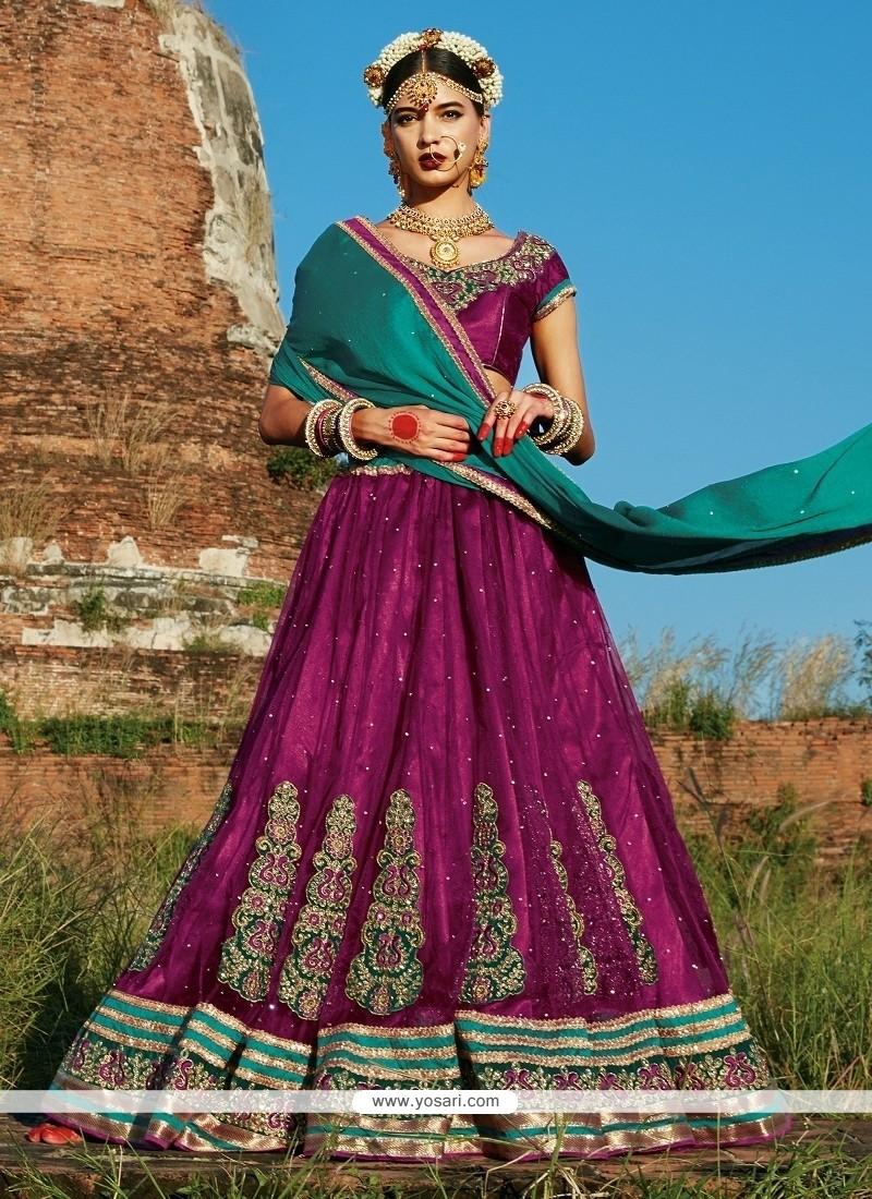Majesty Purple Net A Line Lehenga Choli