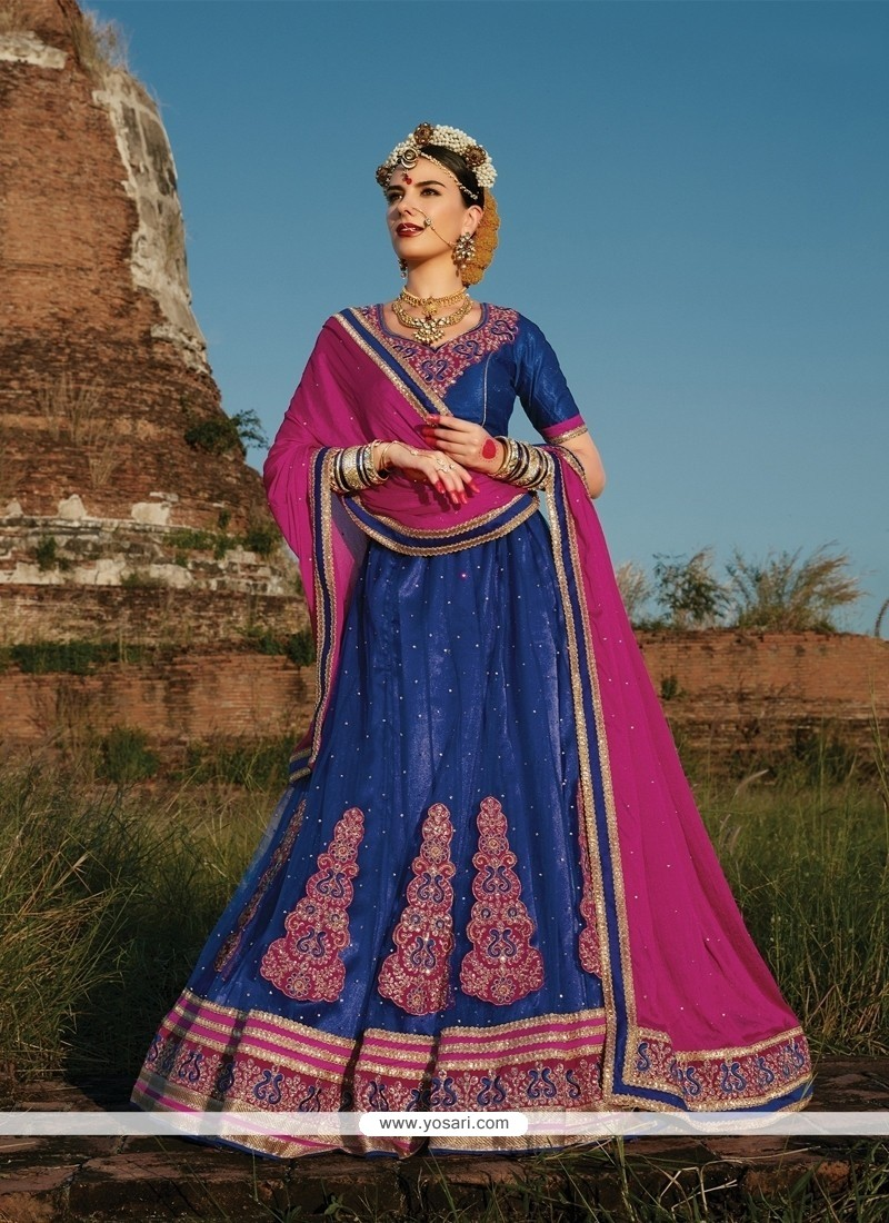 Invigorating Net Blue A Line Lehenga Choli