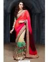 Karishma Kapoor Multi Colour Georgette Cream Net Designer Saree