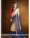 Lovable Embroidered Work Beige And Navy Blue Designer Saree