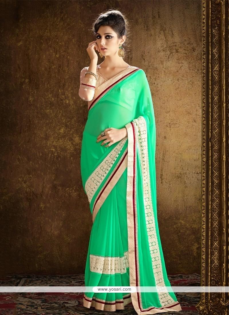 Glamorous Sea Green Designer Saree