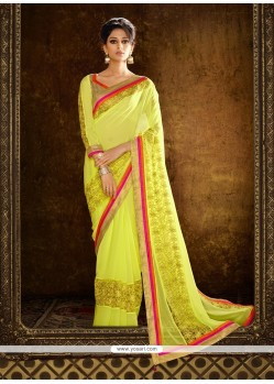 Artistic Yellow Embroidered Work Designer Saree
