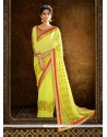 Artistic Yellow Embroidered Work Designer Saree