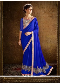 Delectable Blue Georgette Designer Saree
