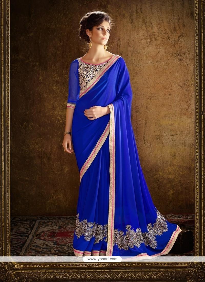 Delectable Blue Georgette Designer Saree