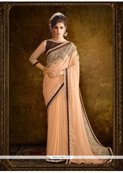 Peach Embroidered Work Georgette Designer Saree