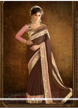 Awesome Patch Border Work Georgette Designer Saree