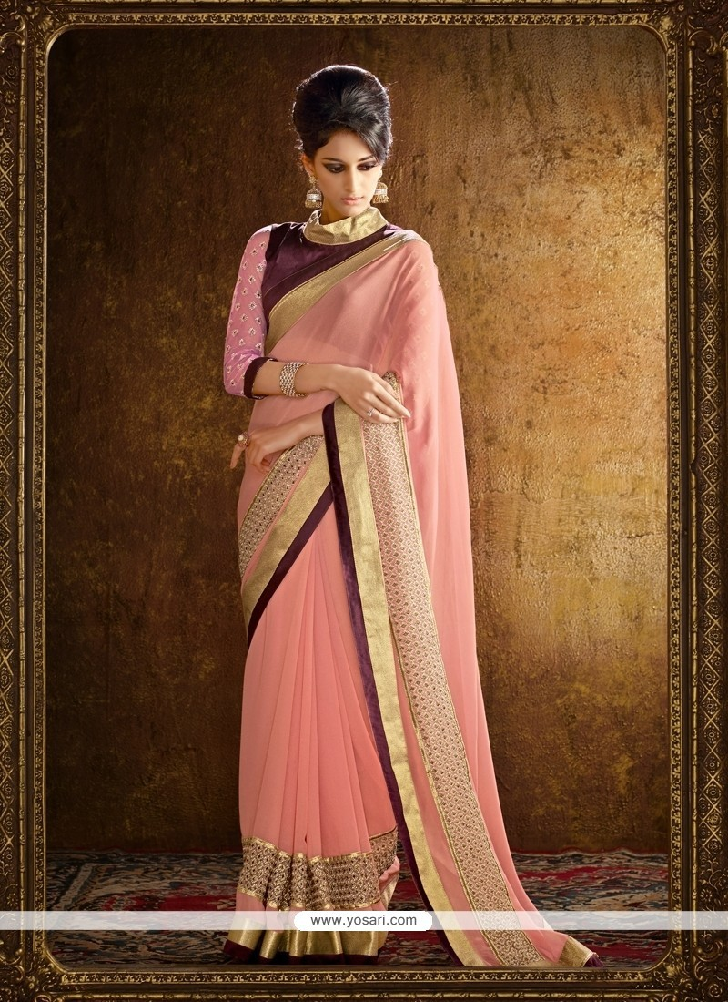 Floral Georgette Pink Patch Border Work Designer Saree