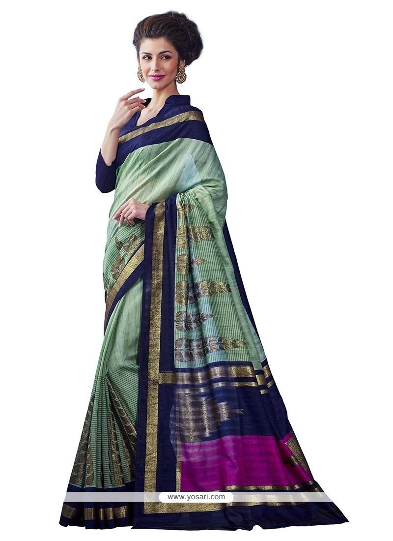 Multi Colour Print Work Bhagalpuri Silk Casual Saree