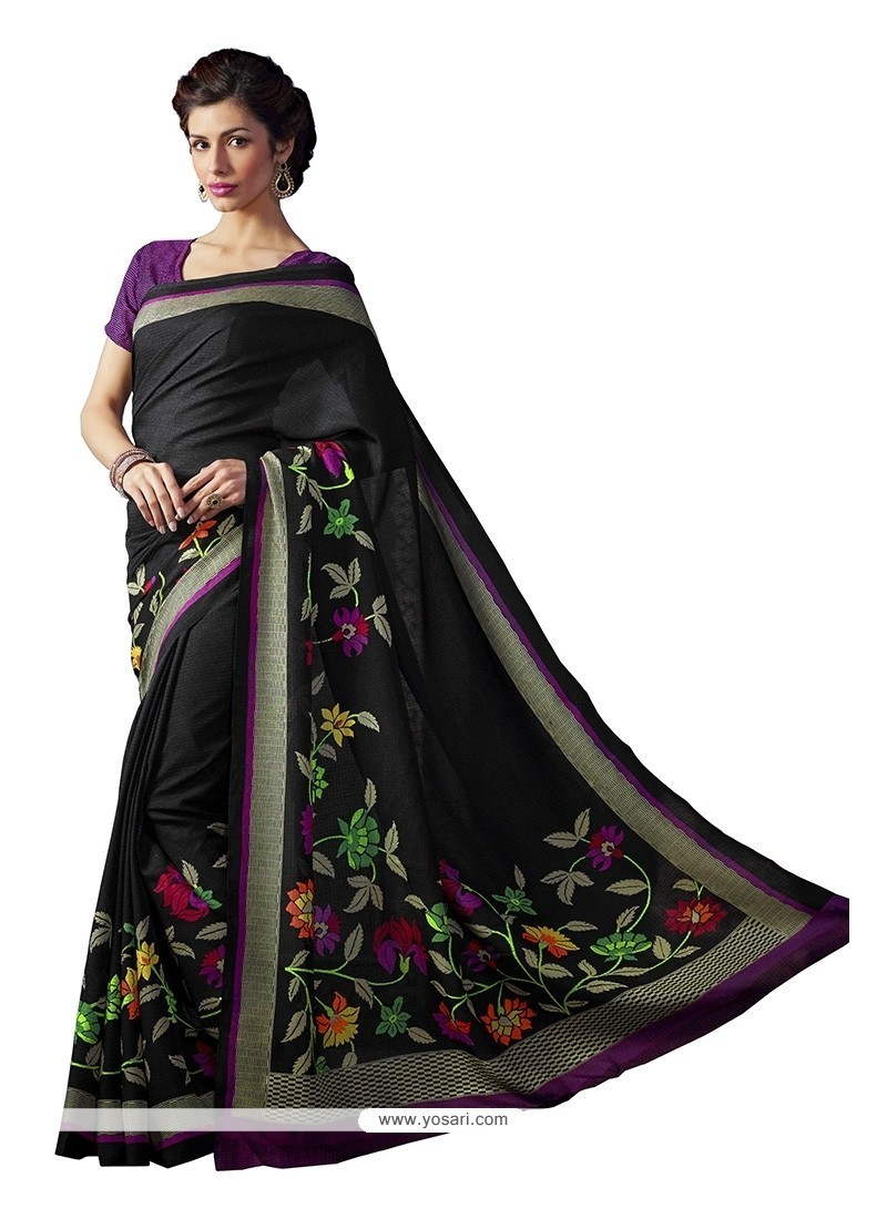 Energetic Print Work Bhagalpuri Silk Casual Saree