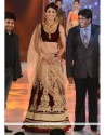 Shilpa Shetty Wine Velvet Booti Work Lahenga Choli