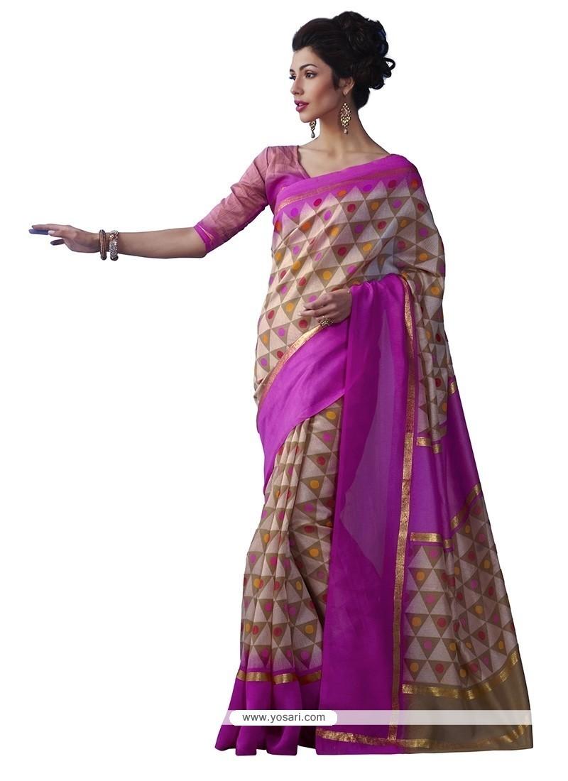 Vivid Print Work Multi Colour Casual Saree