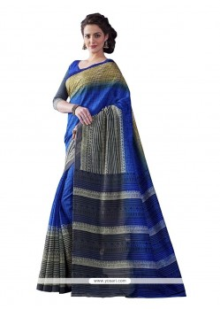 Vivid Bhagalpuri Silk Multi Colour Print Work Casual Saree