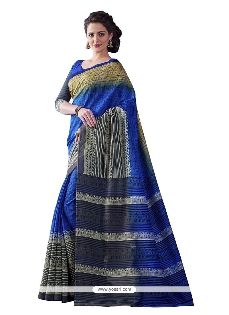 Vivid Bhagalpuri Silk Multi Colour Print Work Casual Saree