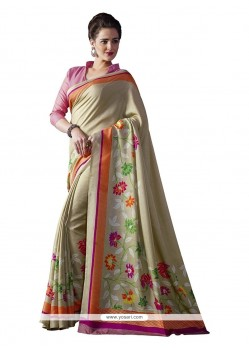 Multi Colour Print Work Bhagalpuri Silk Casual Saree