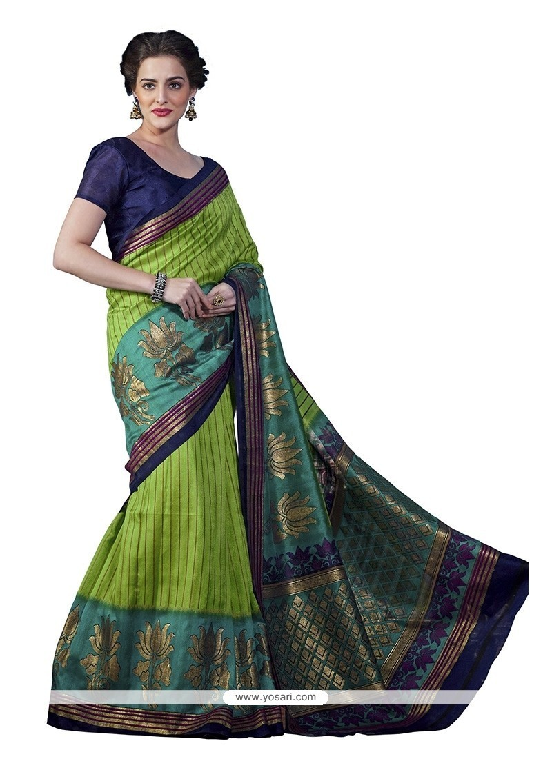 Prominent Bhagalpuri Silk Green Casual Saree