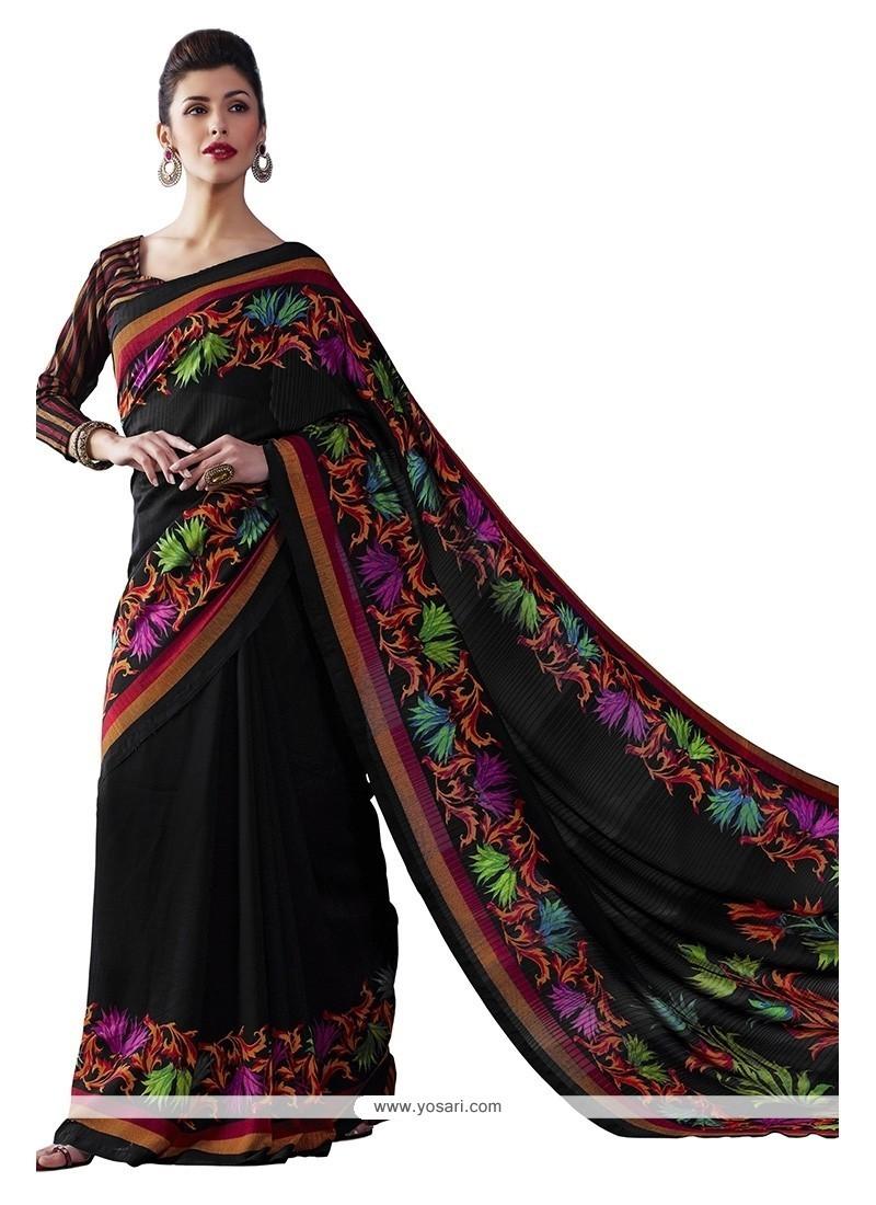 Entrancing Bhagalpuri Silk Multi Colour Print Work Casual Saree