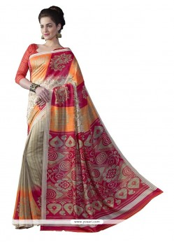 Resplendent Multi Colour Print Work Bhagalpuri Silk Casual Saree