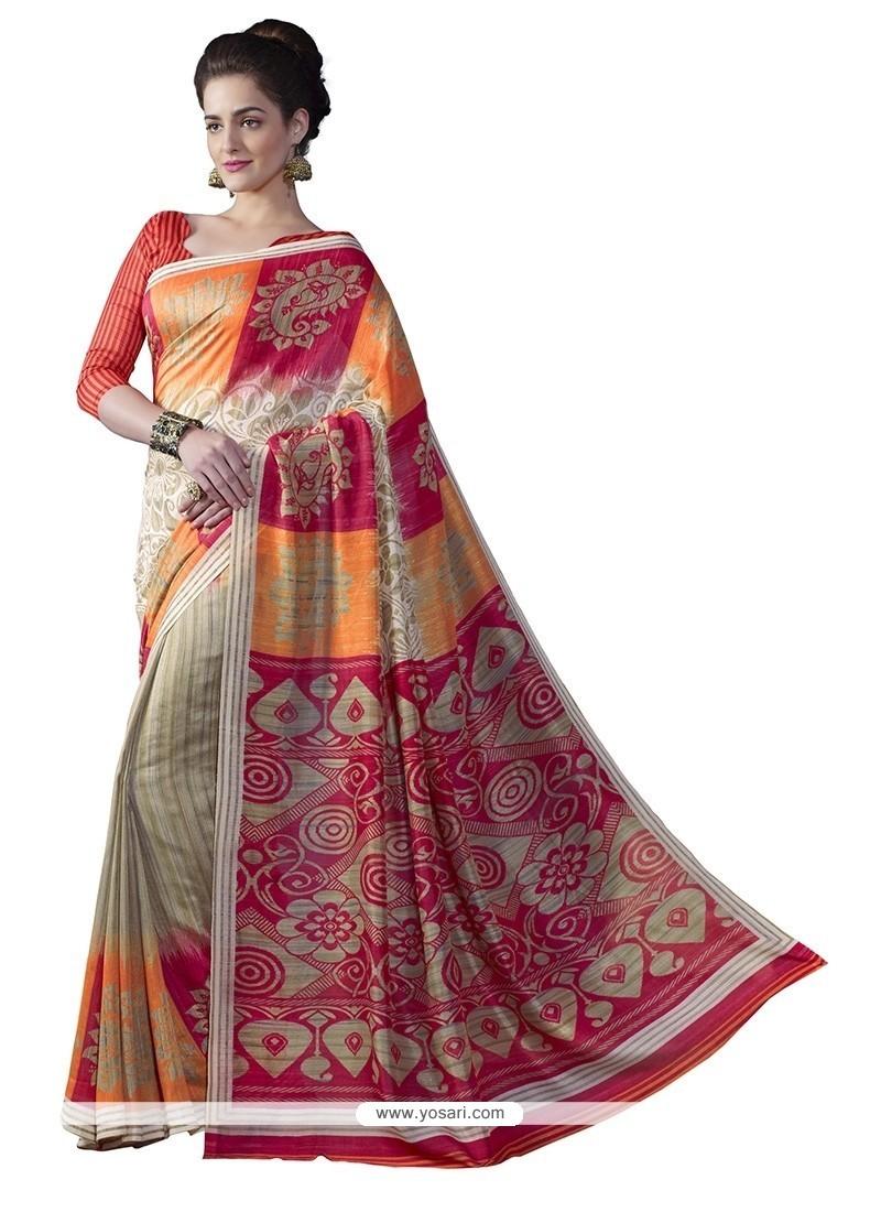 Resplendent Multi Colour Print Work Bhagalpuri Silk Casual Saree