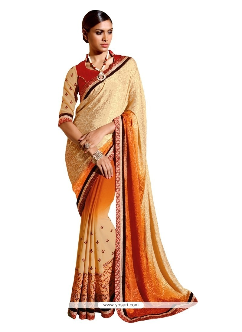 Prepossessing Embroidered Work Designer Saree