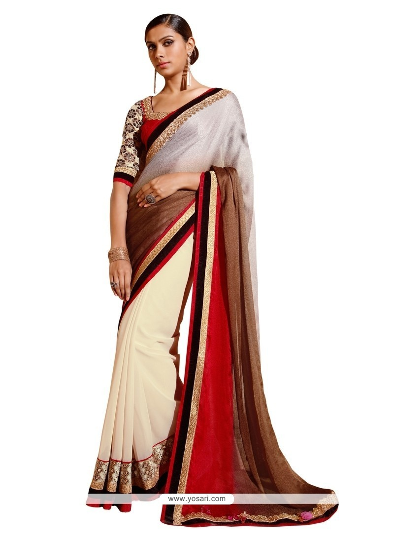 Whimsical Jacquard Off White Embroidered Work Designer Saree